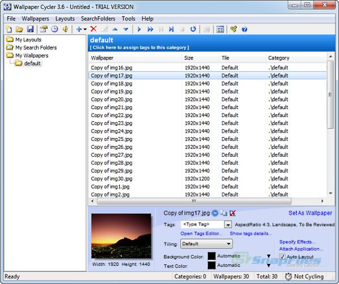 screen capture of Wallpaper Cycler