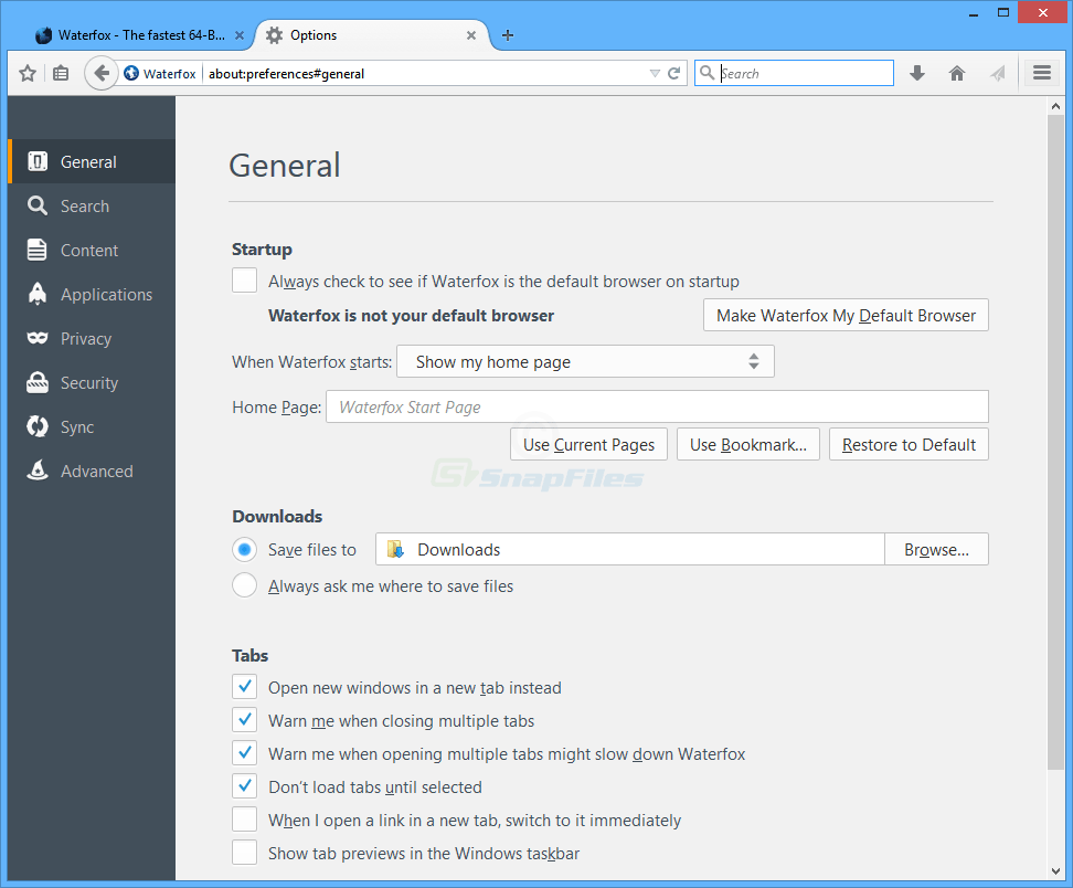 screenshot of Waterfox