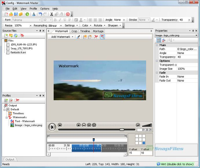 screen capture of Watermark Master