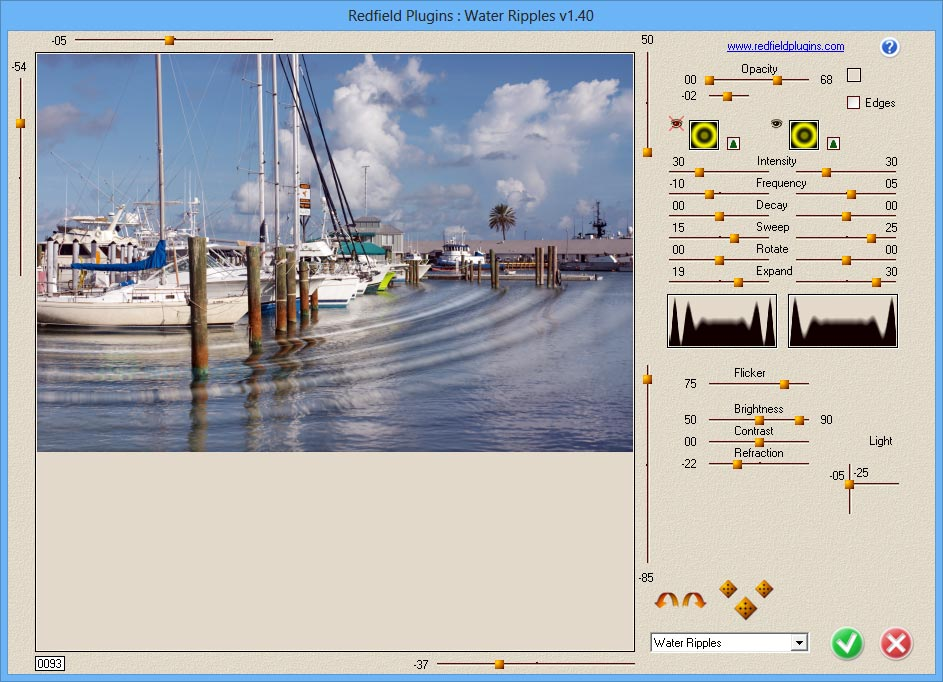screen capture of Redfield Water Ripples Plug-in