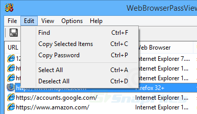 screenshot of WebBrowserPassView