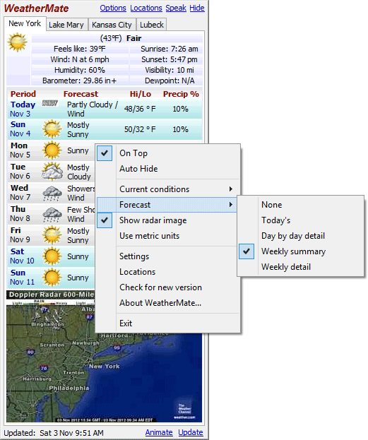 screenshot of WeatherMate