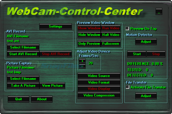 screen capture of WebCam-Control-Center