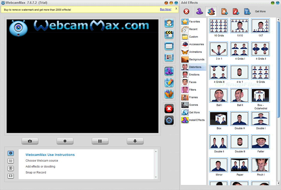 screen capture of WebcamMax