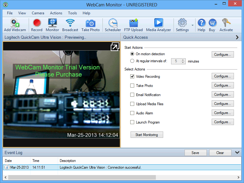 screen capture of WebCam Monitor