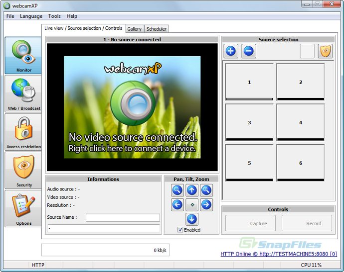 screen capture of webcamXP PRO