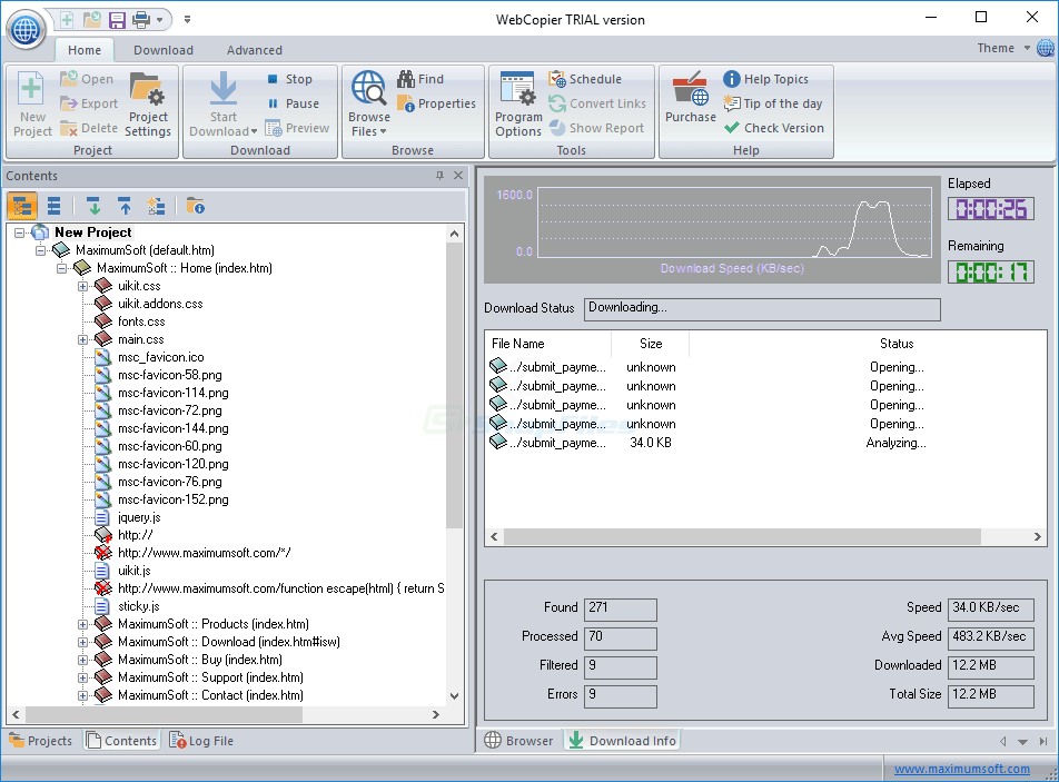 screenshot of WebCopier