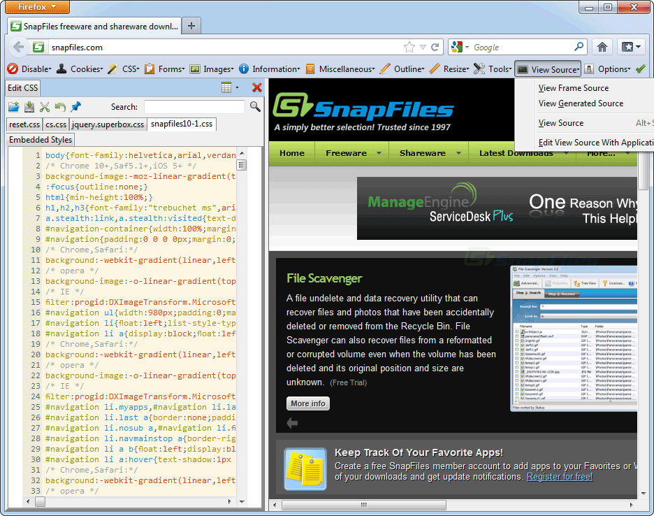 screen capture of Web Developer Extension