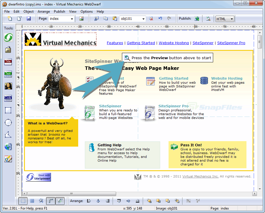 screen capture of WebDwarf