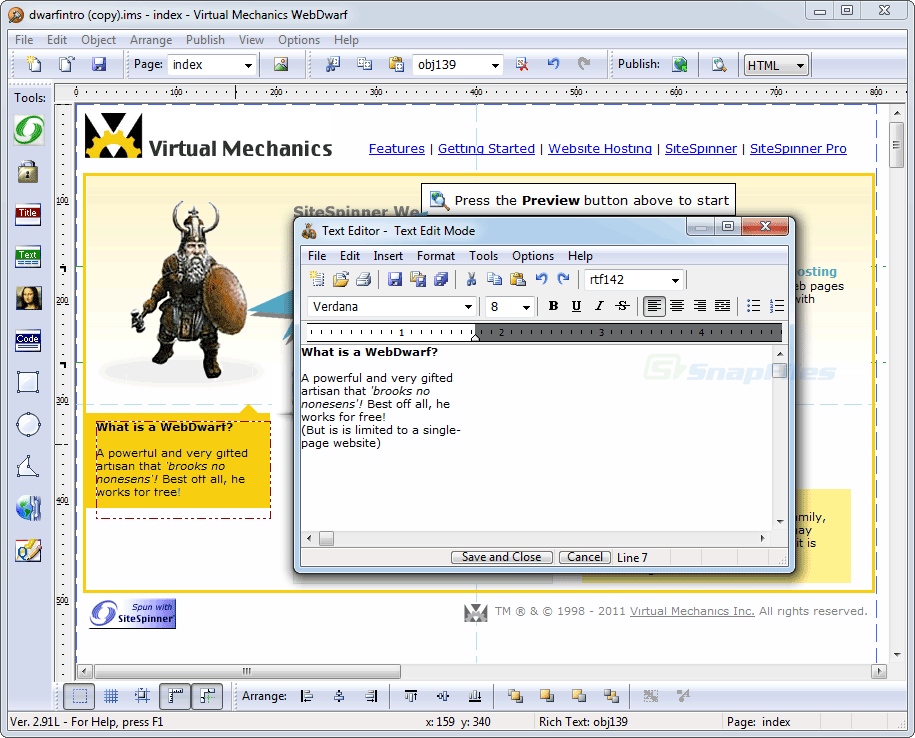 screenshot of WebDwarf