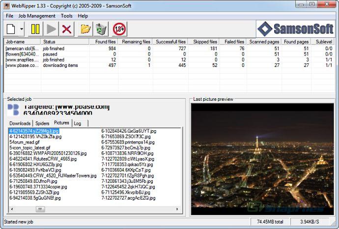 screen capture of WebRipper
