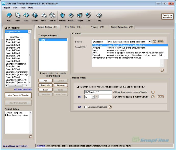screen capture of Likno Web Tooltips Builder