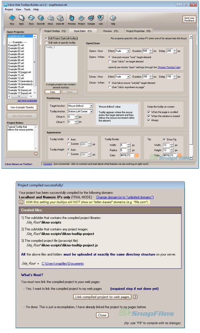 screenshot of Likno Web Tooltips Builder