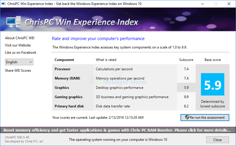 screen capture of ChrisPC Win Experience Index