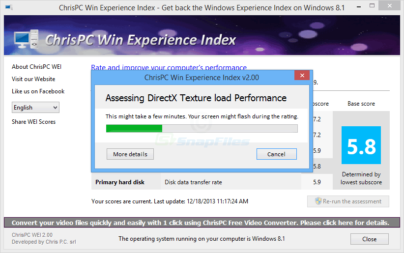 screenshot of ChrisPC Win Experience Index