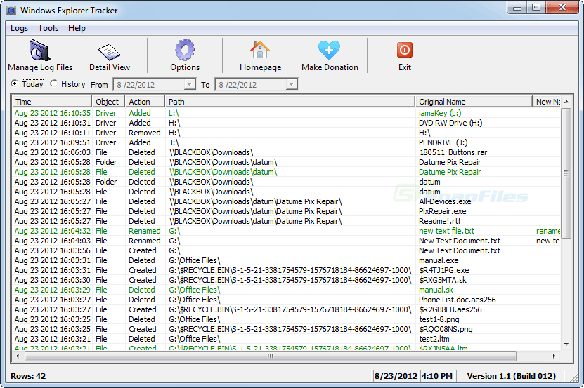screen capture of Windows Explorer Tracker