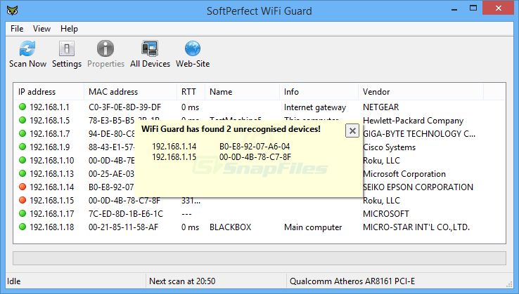 screenshot of SoftPerfect WiFi Guard