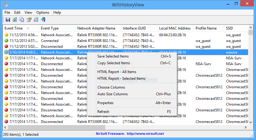 screen capture of WifiHistoryView