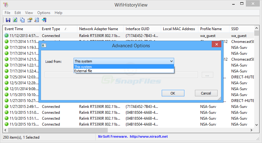 screenshot of WifiHistoryView