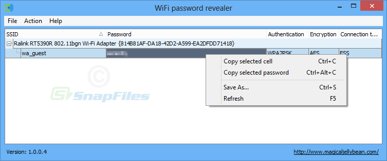 screen capture of WiFi Password Revealer