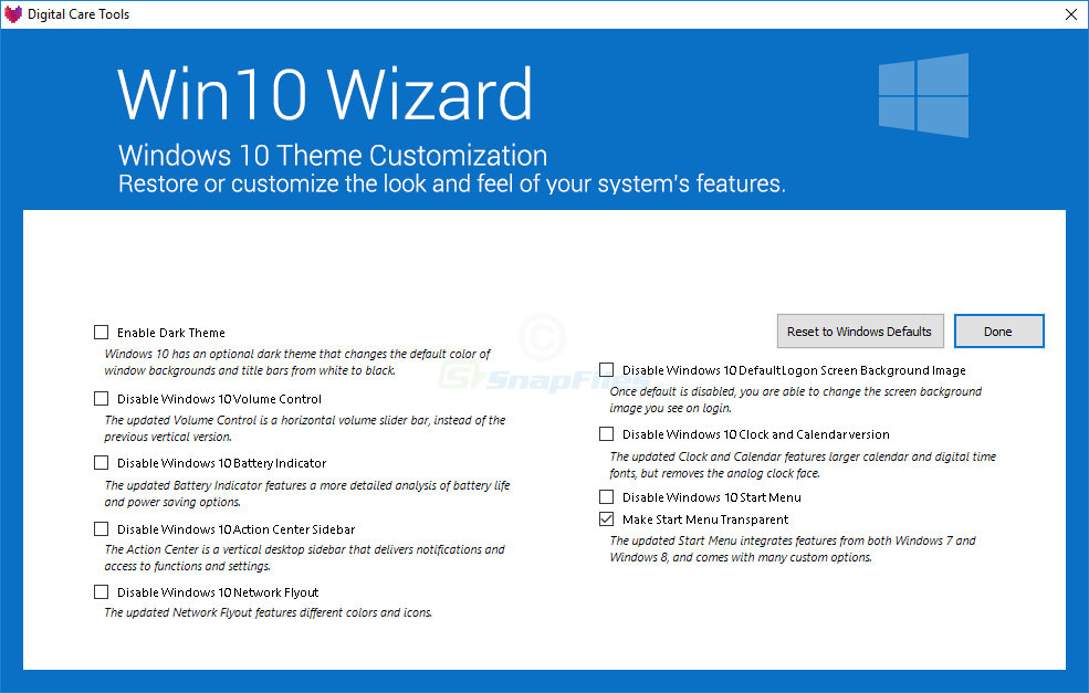 screenshot of Win10 Wizard