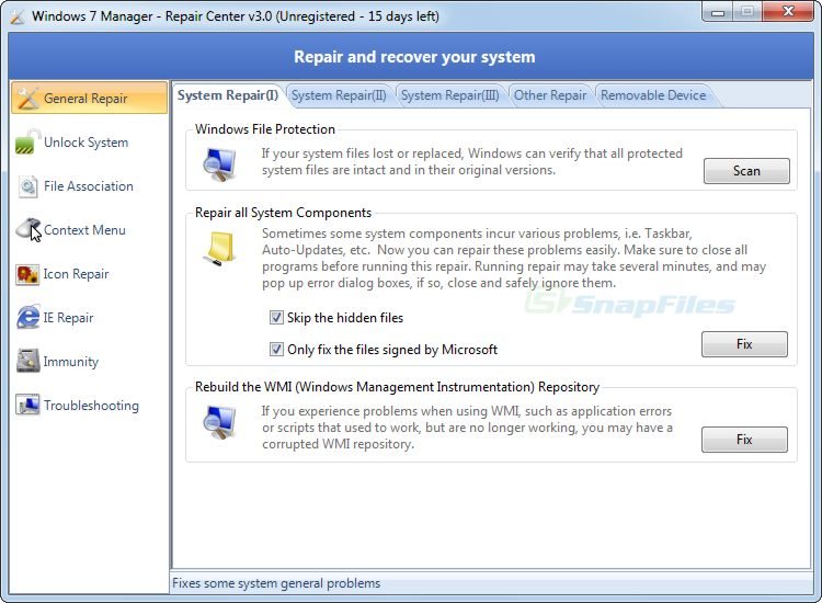 screenshot of Windows 7 Manager