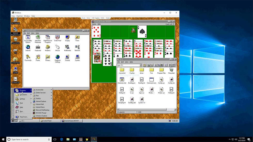 screen capture of Windows95