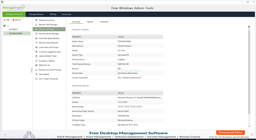 screen capture of Free Windows Admin Tools