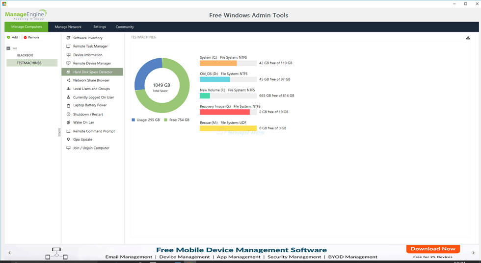 screenshot of Free Windows Admin Tools