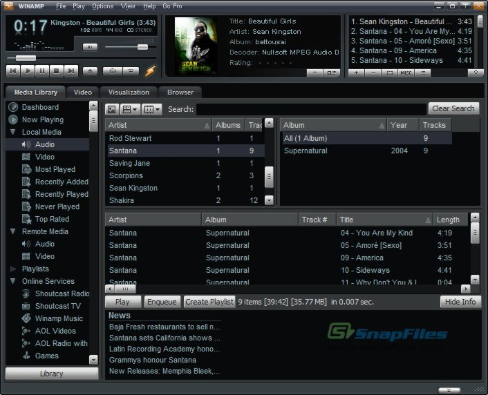 screen capture of Winamp Full