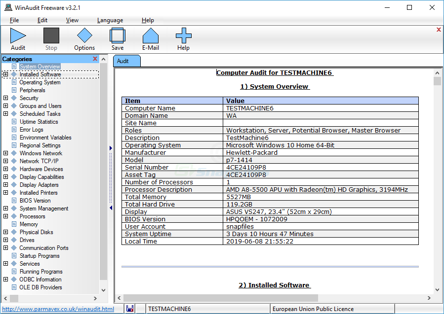 screen capture of WinAudit