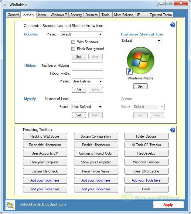 screen capture of WinBubbles