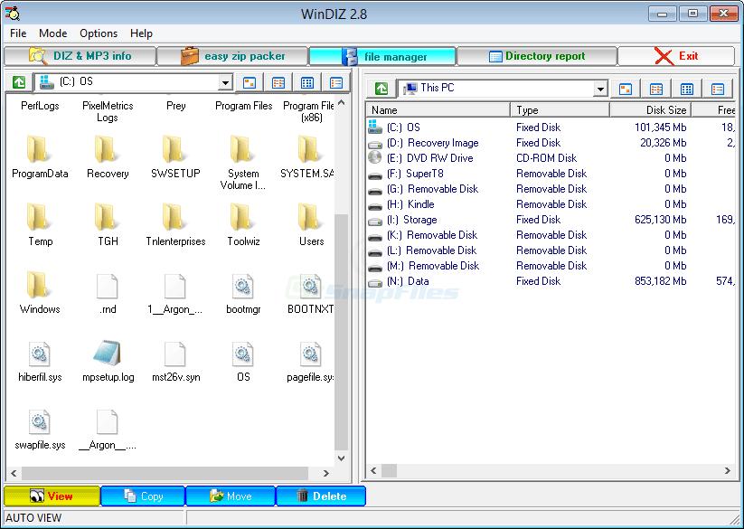 screenshot of WinDIZ