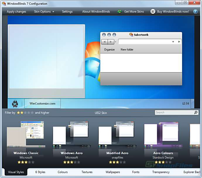 screen capture of WindowBlinds