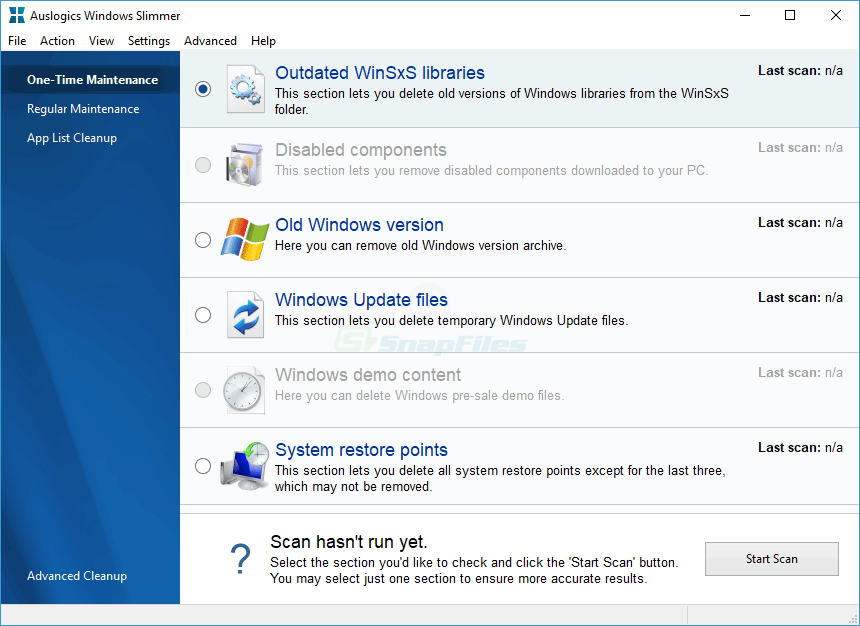 screen capture of Auslogics Windows Slimmer