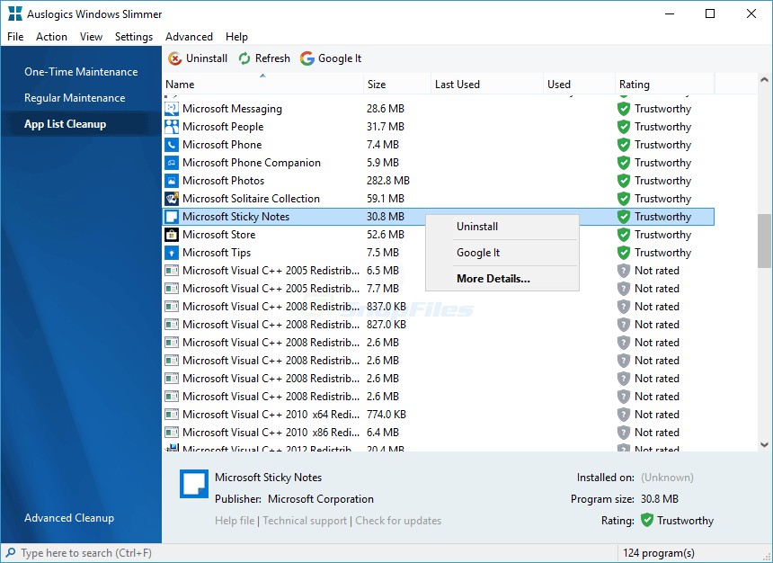 screenshot of Auslogics Windows Slimmer