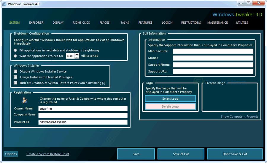 screen capture of Windows Tweaker