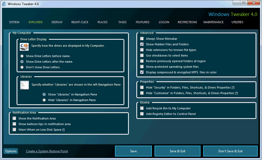 screenshot of Windows Tweaker