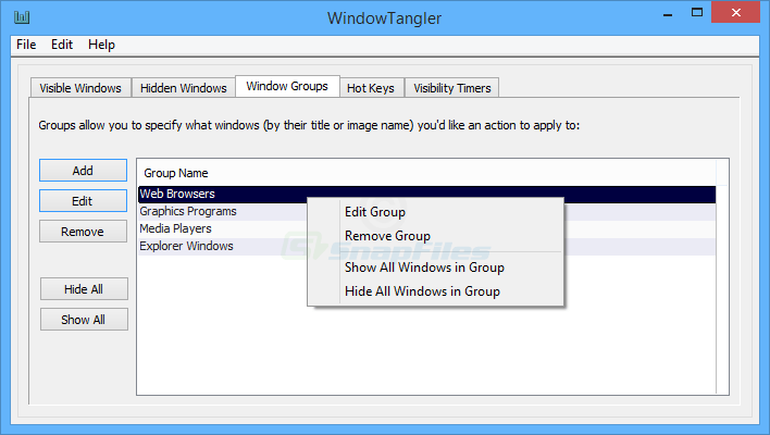 screen capture of WindowTangler