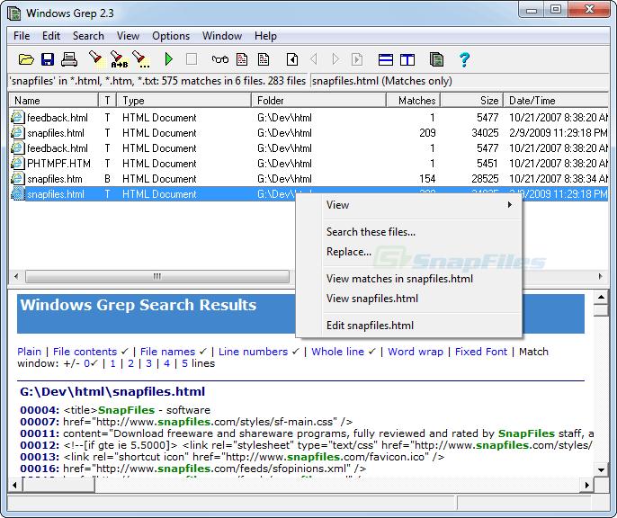 screenshot of Windows Grep