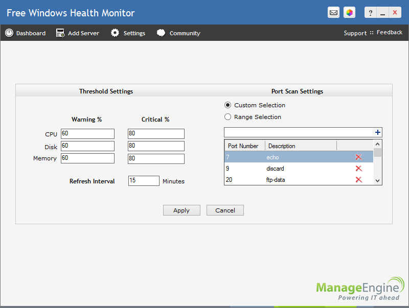 screenshot of ManageEngine Windows Health Monitor
