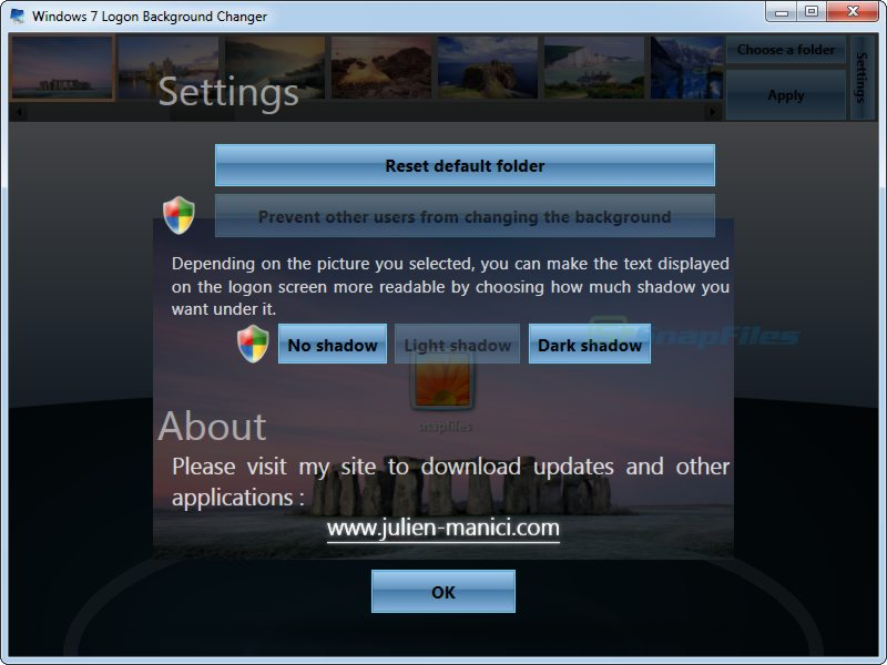 screenshot of Windows 7 Logon Background Changer