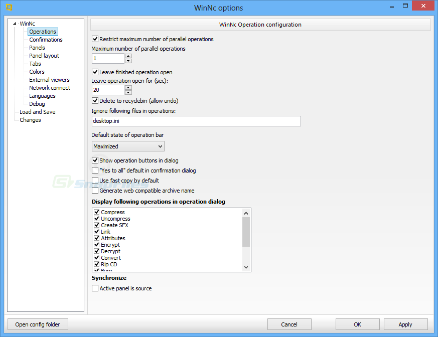 screenshot of WinNC
