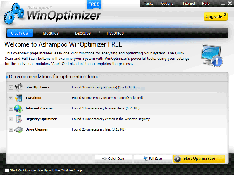 screen capture of WinOptimizer Free
