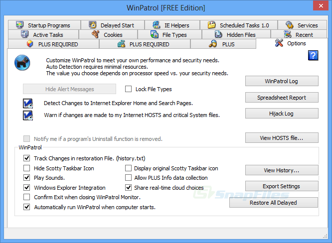screenshot of WinPatrol (Free Edition)