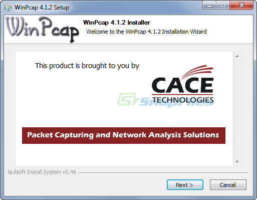 screen capture of WinPcap