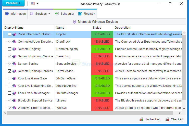 screen capture of Windows Privacy Tweaker