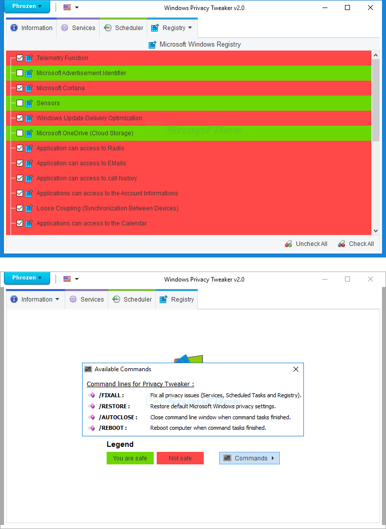screenshot of Windows Privacy Tweaker
