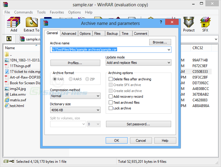 screenshot of WinRAR