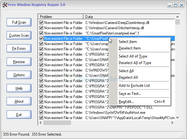 screen capture of Free Window Registry Repair